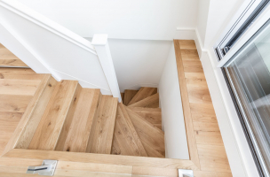 Natural oak/3305, rustic stair cladding by Craft Architects, UK